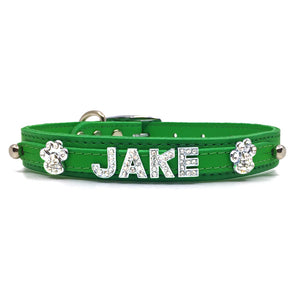 Emerald Green leather collar personalised with diamante name from Style Hound-front view