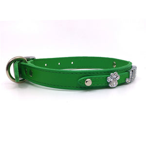 Emerald Green leather collar personalised with diamante name from Style Hound-side view