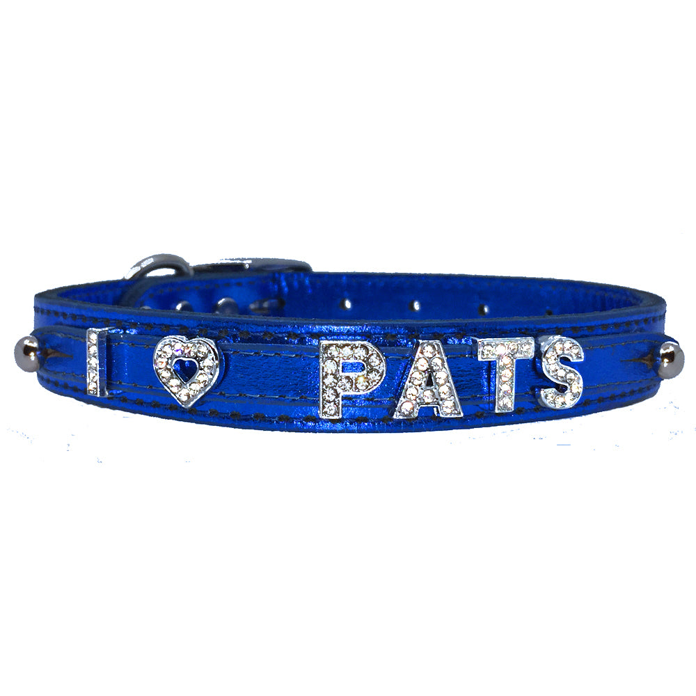 Metallic blue leather collar personalised with diamante name from Style Hound-front view