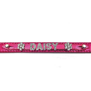 Metallic pink leather collar personalised with diamante name from Style Hound-detail view
