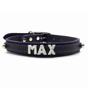 Purple leather collar personalised with diamante name from Style Hound-front view