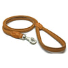 Soft rolled cognac nappa leather lead from Style Hound-detail view