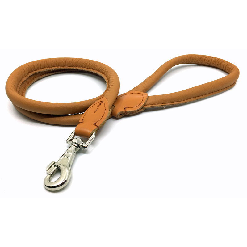 Soft rolled cognac nappa leather lead from Style Hound-front view