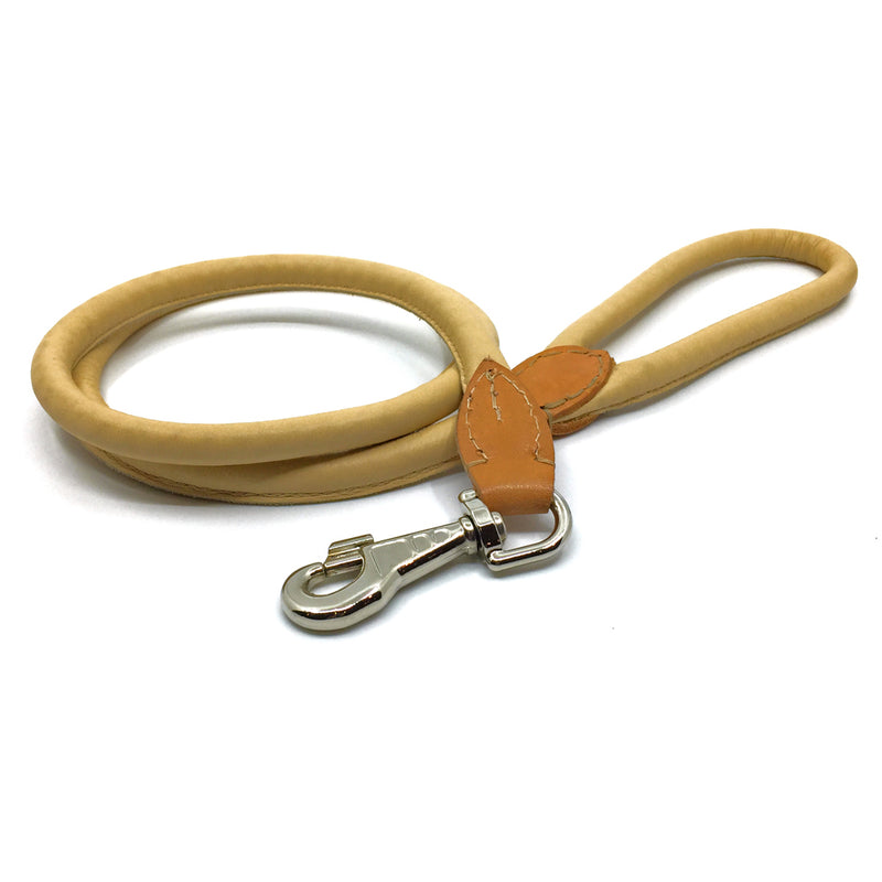Soft rolled natural tan nappa leather lead from Style Hound-front view