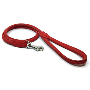 Soft rolled red nappa leather lead from Style Hound-detail view