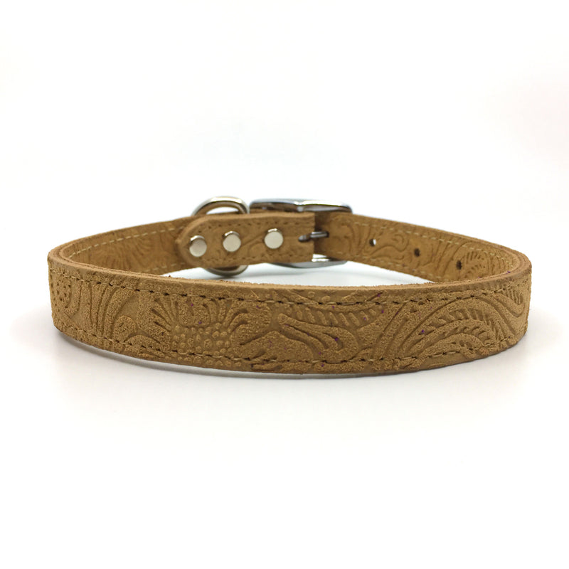 Embossed suede leather collar in a warm caramel colour from Style Hound-front view