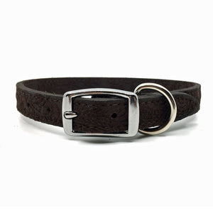Embossed suede leather collar in a warm chocolate colour from Style Hound-back view