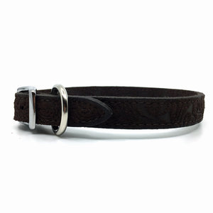Embossed suede leather collar in a warm chocolate colour from Style Hound-side view