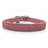 Embossed suede leather collar in a soft pink colour from Style Hound-front view