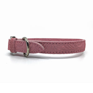 Embossed suede leather collar in a soft pink colour from Style Hound-side view