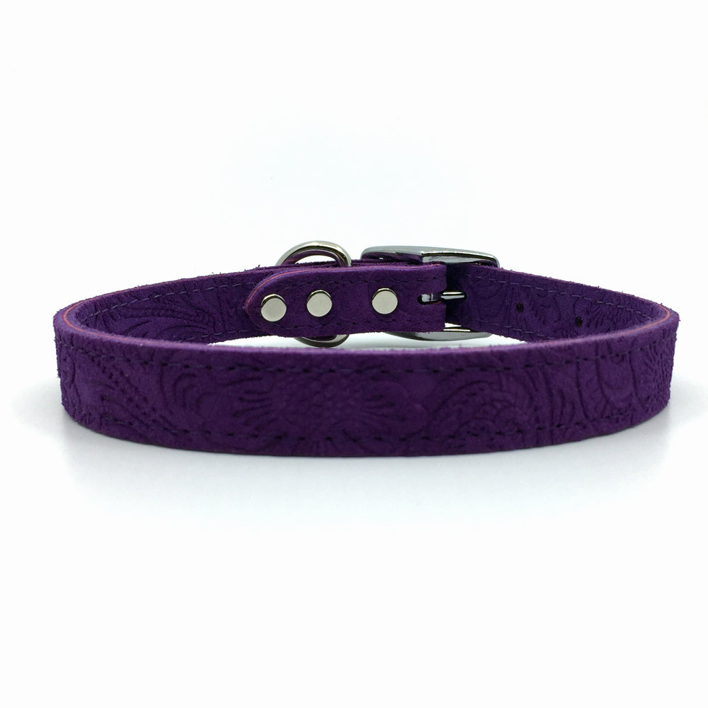 Embossed suede leather collar in a deep purple colour from Style Hound-front view