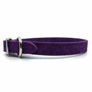 Embossed suede leather collar in a deep purple colour from Style Hound-side view