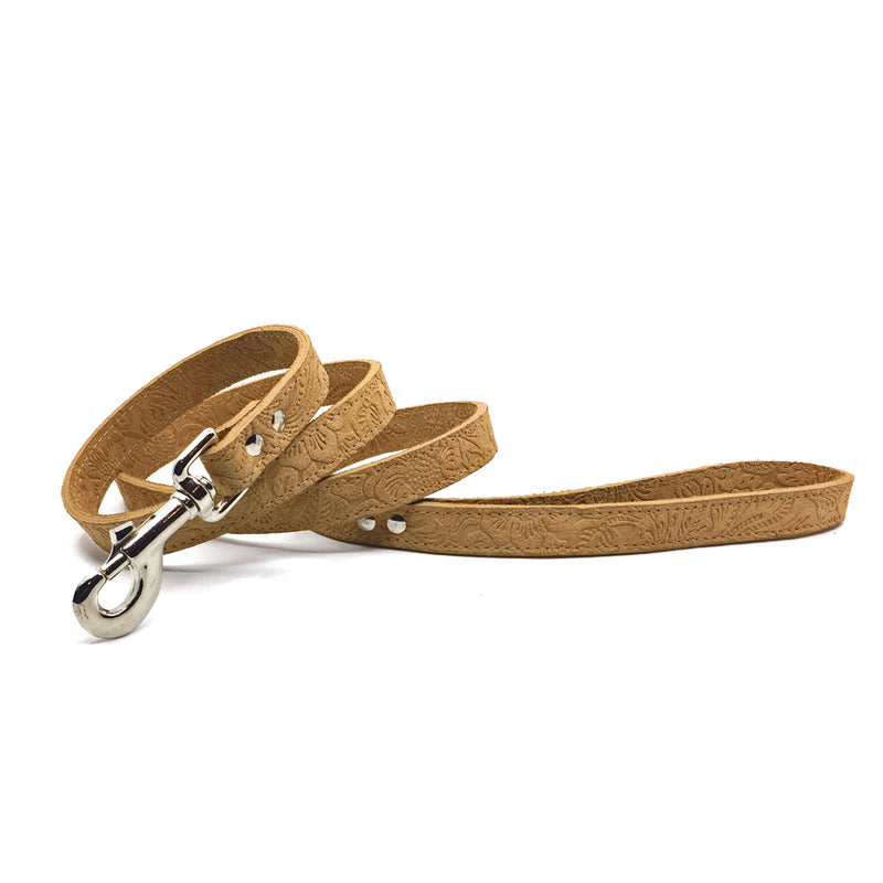 Camel coloured suede leather lead from Style Hound-front view