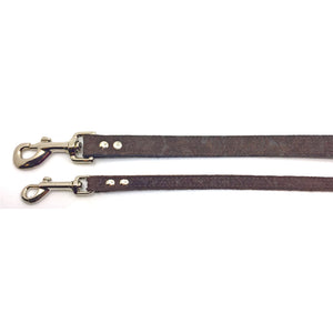 2 Chocolate coloured suede leather leads from Style Hound-slim and standard