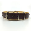 Chocolate brown and natural tan padded leather collar with clear and champagne coloured crystals from Style Hound-back view