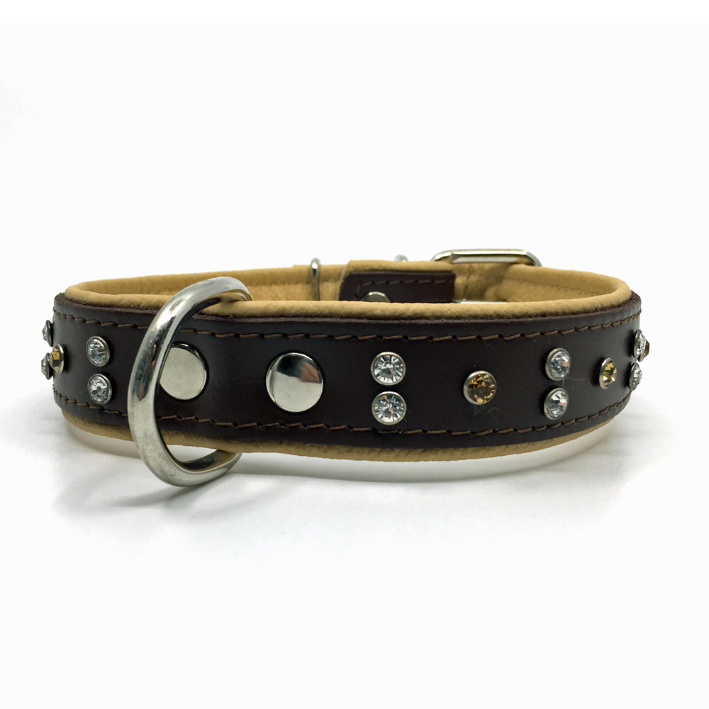 Chocolate brown and natural tan padded leather collar with clear and champagne coloured crystals from Style Hound-front view