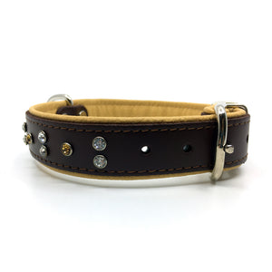 Chocolate brown and natural tan padded leather collar with clear and champagne coloured crystals from Style Hound-side view