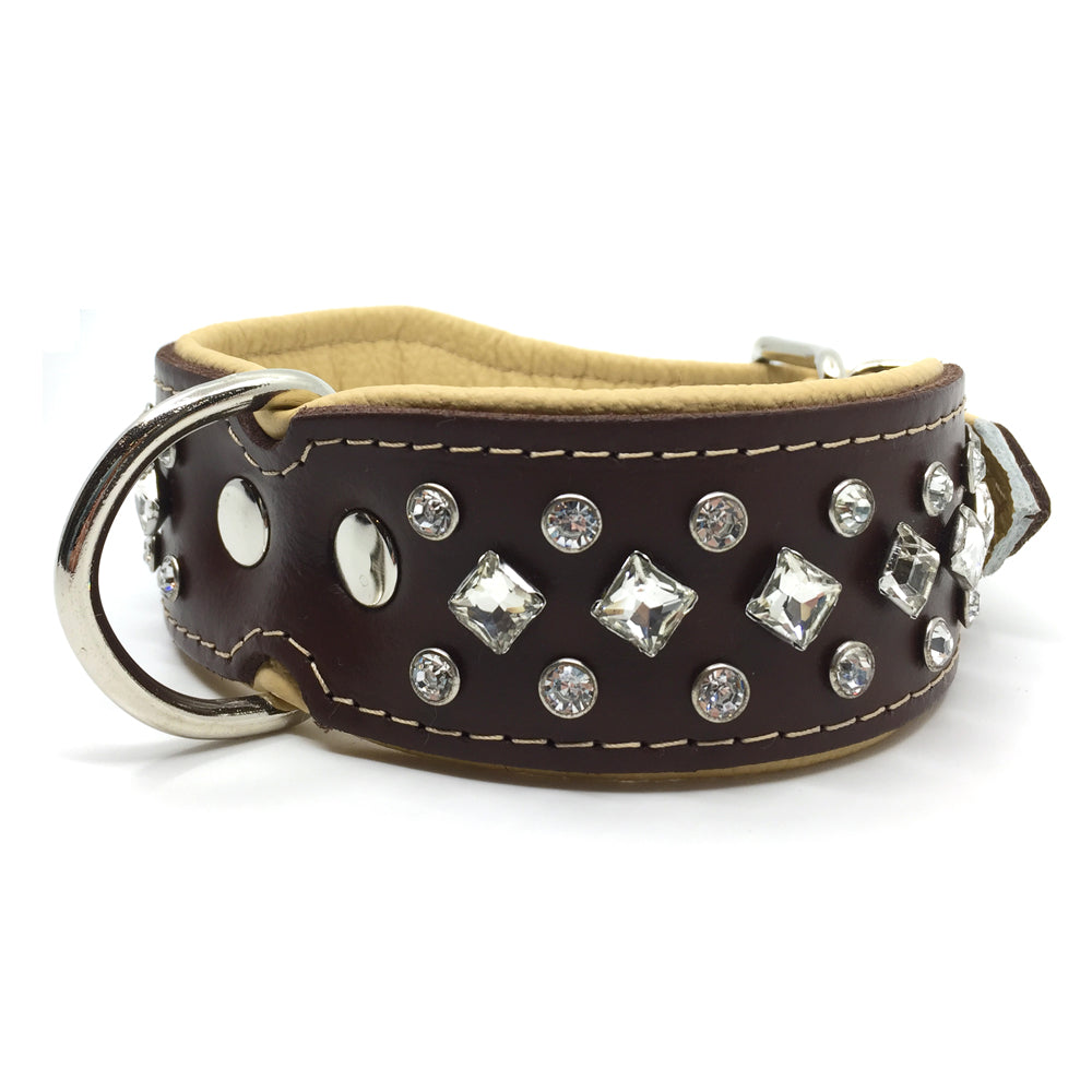 Wide chocolate and natural tan leather collar with white crystals from Style Hound-front view