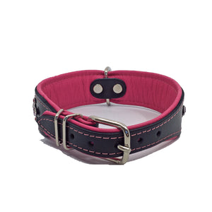 Wide black and pink padded leather collar with pink crystals from Style Hound-back view