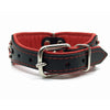Wide black and red padded leather collar with red crystals from Style Hound-back view