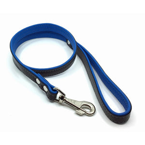 Two-toned black and blue leather lead from Style Hound-detail view