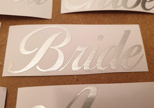 Personalised Brushed Silver Vinyl Name Stickers Curly Decal Elegant Glass Box