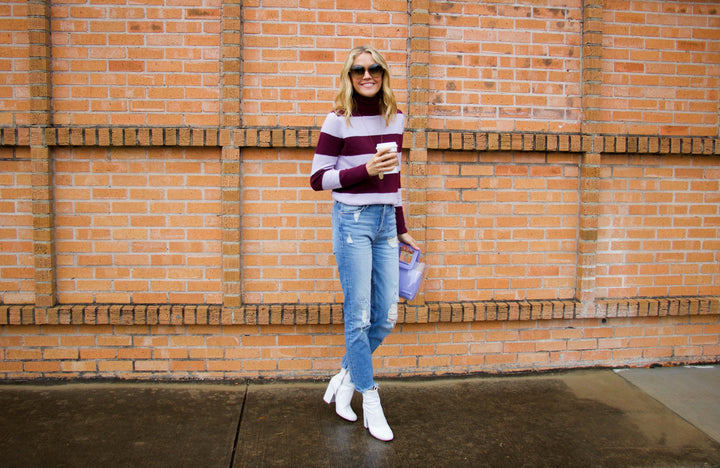 #12daysofsweaters - Purple stripe turtleneck