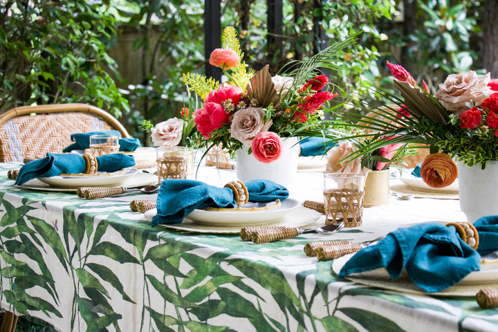 A Palm Print Like No Other for a Tropical Patio Supper