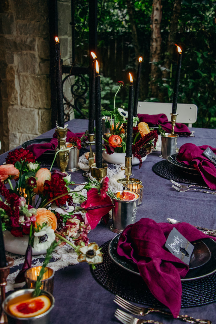 moody Halloween tablescape + blood orange cocktail recipe