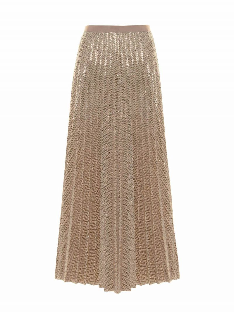 Sequin Effect Pleated Skirt