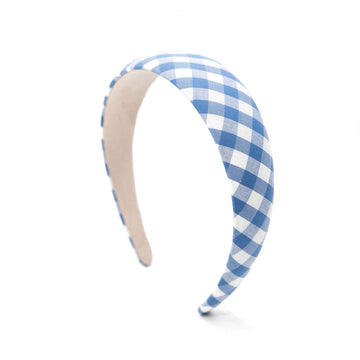 Gingham Check Headband, Blue x White