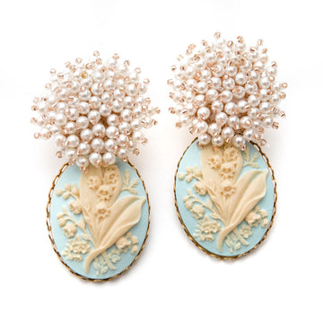 Pearl Cluster & Cameo Earrings, Blue x Yellow