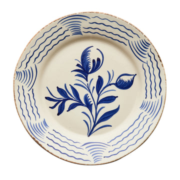 Casa Nuno Blue and White Dinner Plate, 2 Flowers/Waves