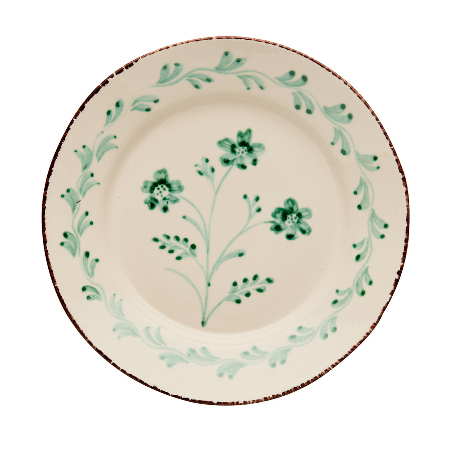 Casa Nuno Green and White Dinner Plate, 3 Flowers/Vines, Set of 4