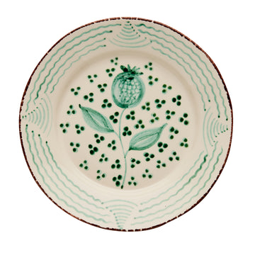 Casa Nuno Green and White Dinner Plate, Pomergranate/Waves, Set of 4