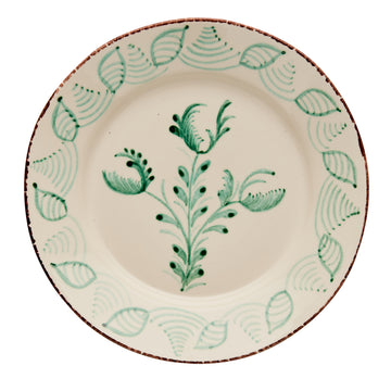 Casa Nuno Large Green and White Dinner Plate, 3 Flowers/Shells, Set of 4