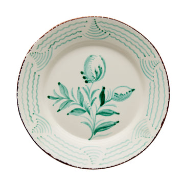 Casa Nuno Large Green and White Dinner Plate, 2 Flowers/Waves, Set of 4
