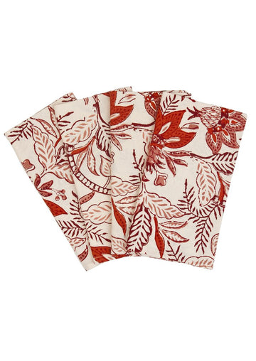Poinsettias Dinner Napkin, Cranberry x Buff