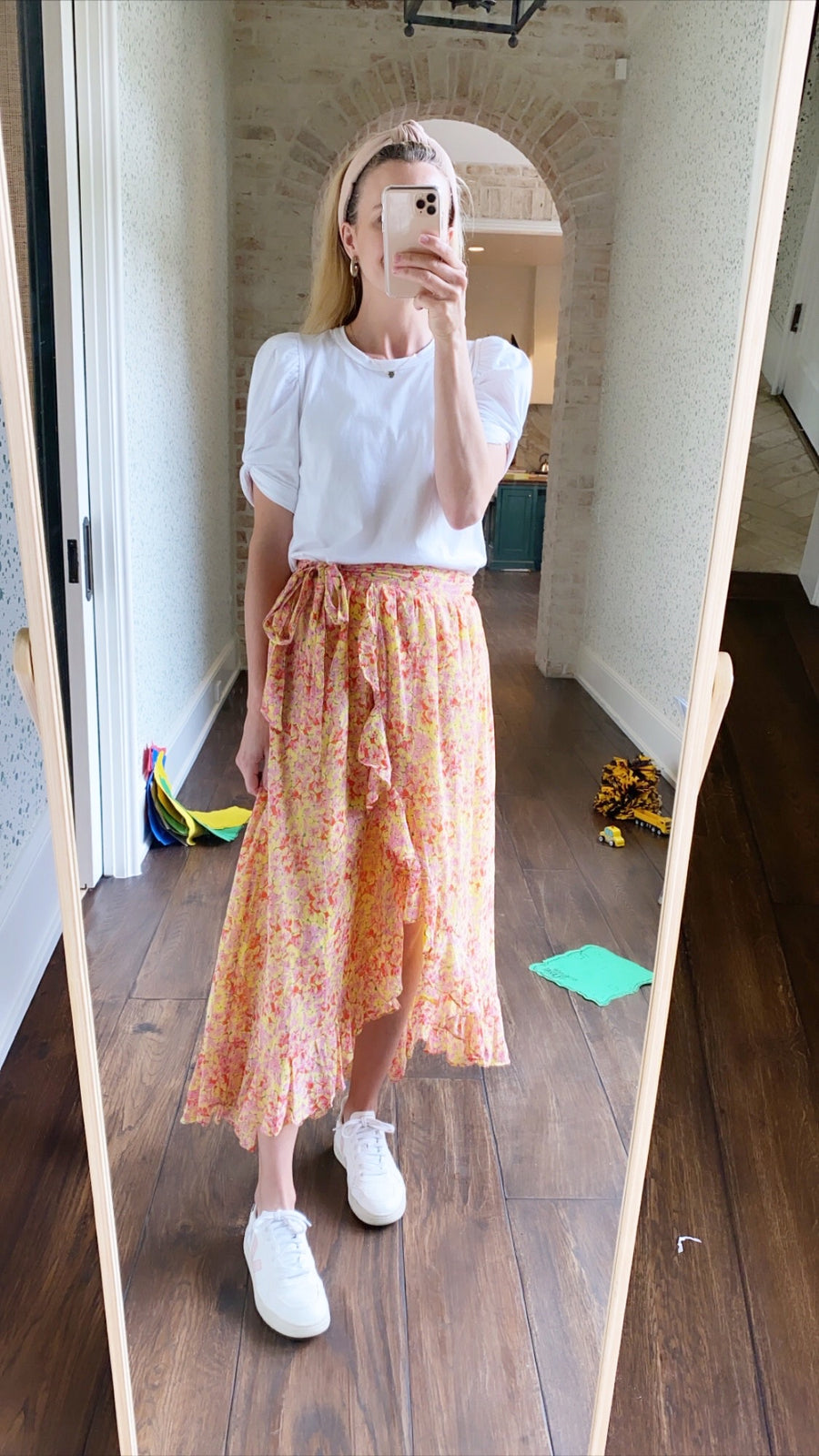 Clover Field Wrap Skirt, Orange x Yellow