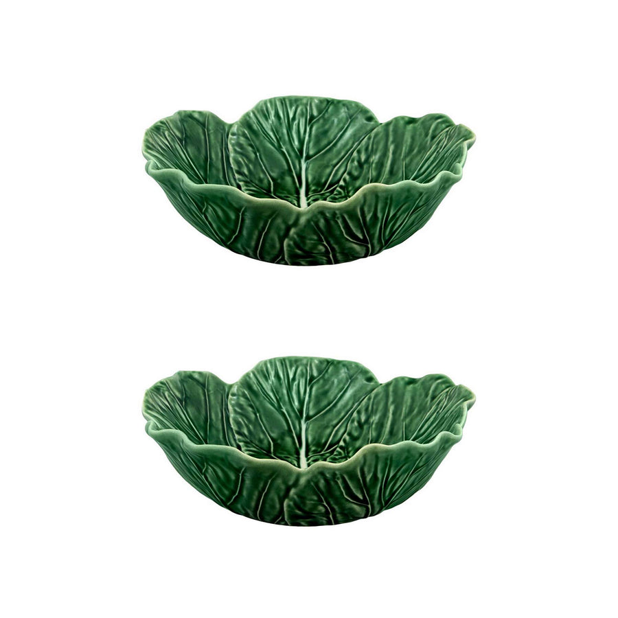 Cabbage Bowl 27 oz Individual Salad Bowl Green, set of 2