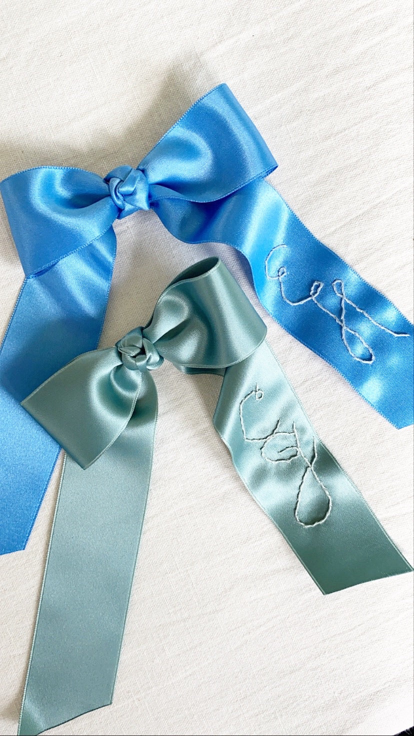 Personalized Silk Bow Barrette, Liberty Green