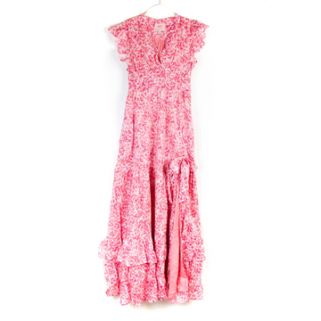 Clover Field Gabriela Dress, White x Pink