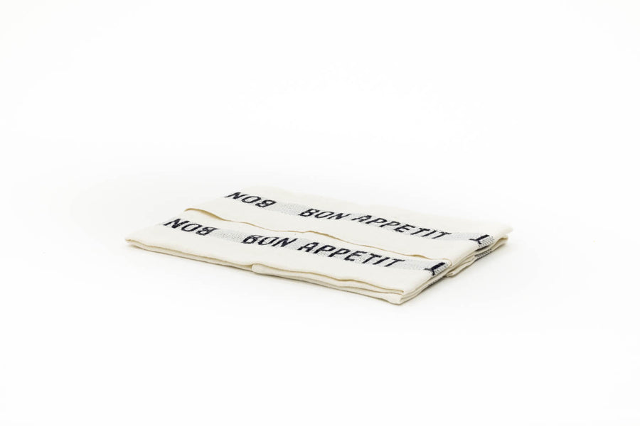 Bon Appetit Tea Towel, White x Black