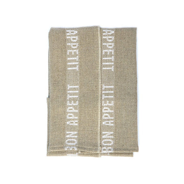 Bon Appetit Tea Towel, Khaki x White