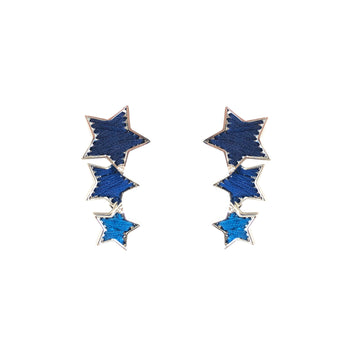 Star Earring, Blue x Silver