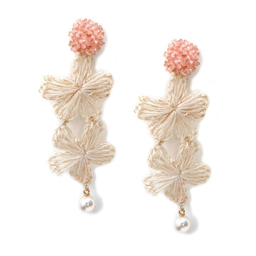 Cluster & Pearl Wicker Flower Earrings, Pink