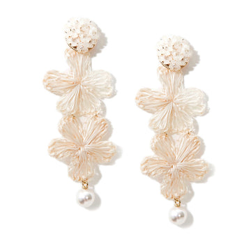 Ivory Cluster & Wicker Flowers Pearl Drop Earrings