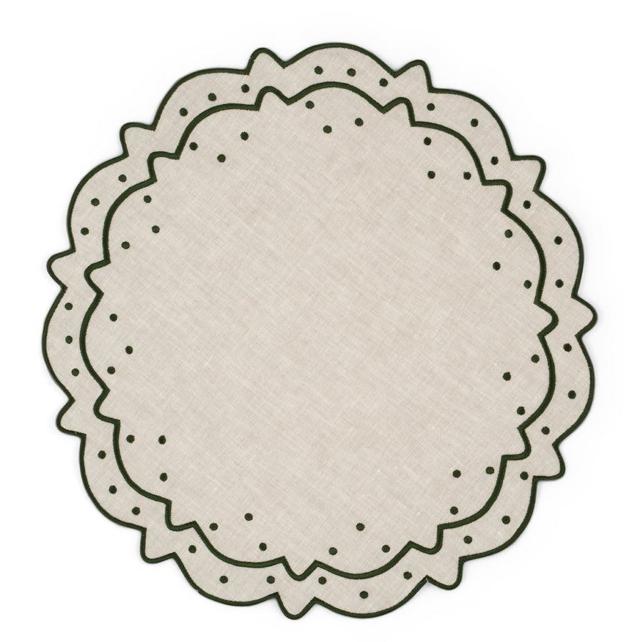 Scalloped Dot Placemat, Ivory x Green