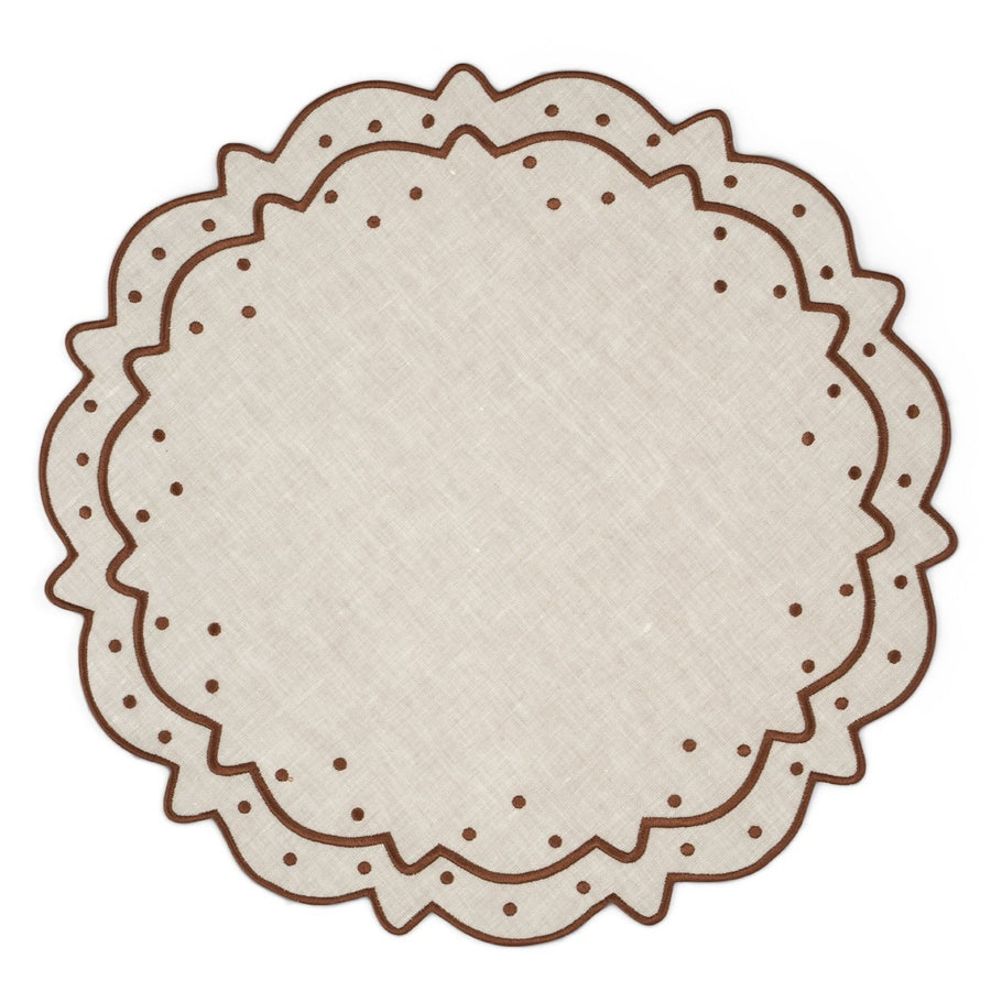 Scalloped Dot Placemat, Ivory x Brown