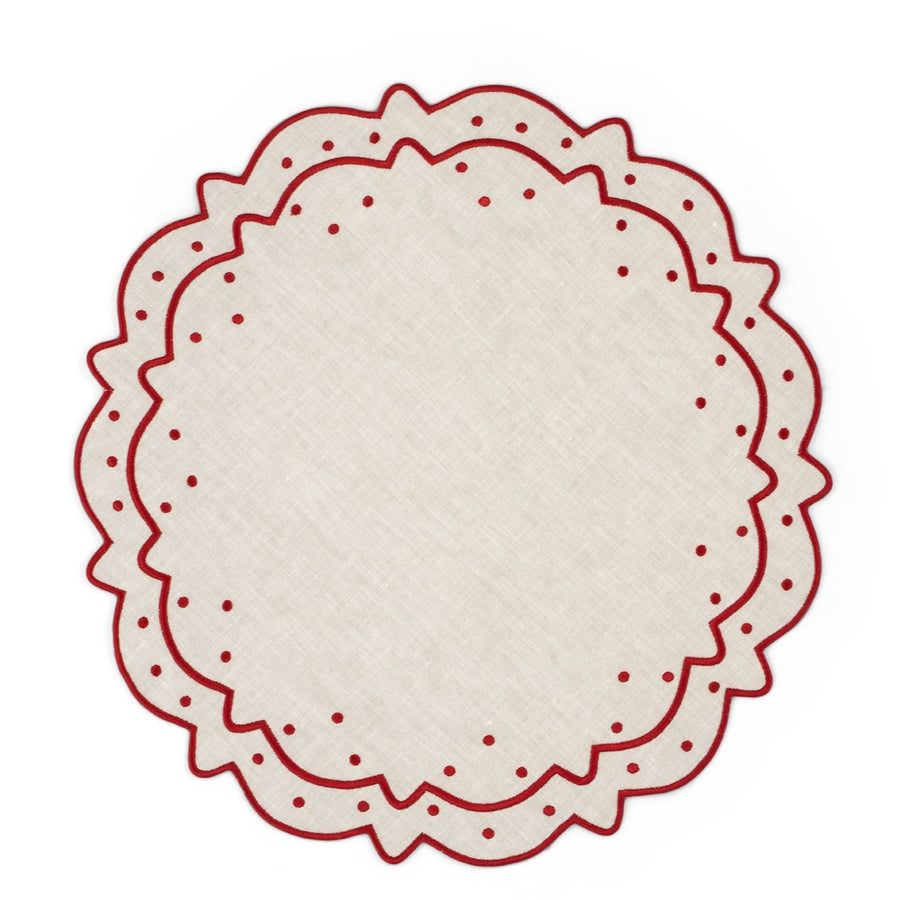 Scalloped Dot Placemat, Ivory x Burgundy